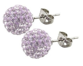 Pair 8mm Crystal stones Bead Pave Disco Ball Rhinestone Beads With 925 Silver Earrings Studs / Violet