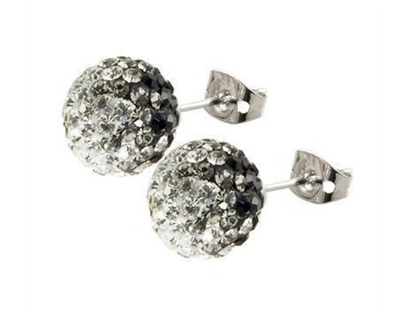 Pair 8MM Crystal stones Bead Pave Disco Ball Rhinestone Beads With 925 Silver Earrings Studs  / black &white