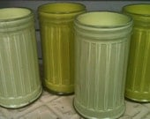 Glass sugar jars painted in beachy chic green hues