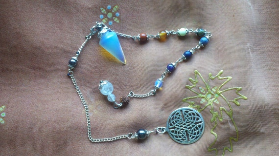 Opalite Pendulum with Celtic Knot-work,  and 2 chains