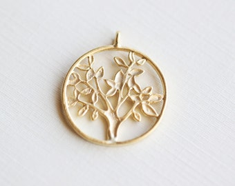 Tree of Life Round Pendant 01 - 925 sterling silver plated with 18k gold, vermeil, family tree 1 piece
