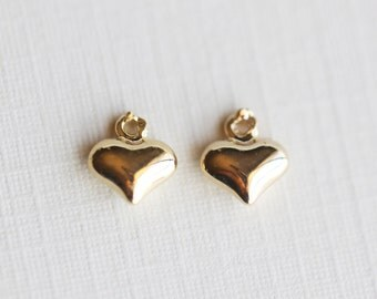Tiny Gold Heart Charm - vermeil gold 2 pcs puffy heart, shiny solid sterling silver pendant