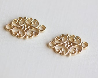 2PCS Sterling Silver Flower Spacer, Connector and Link, Chandelier ...
