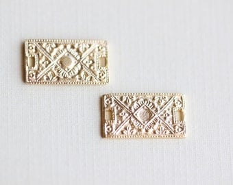 Vermeil Rectangular Ornate Charms 01 - 18k gold over sterling silver, rectangle connector, link with fine detail