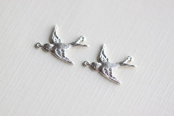 Swallow Bird Sterling Silver Charms - flying dove, soaring sparrow, connector, link, pendant