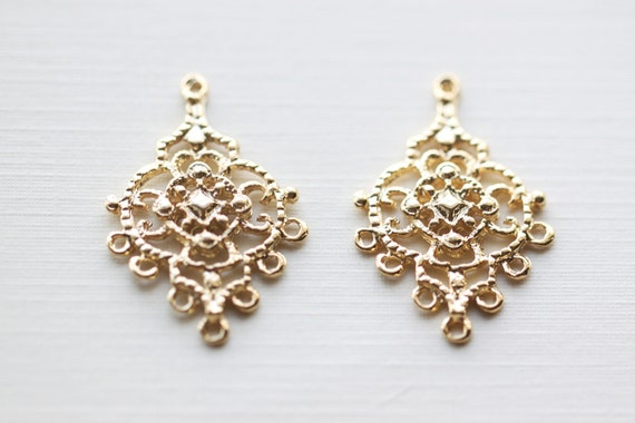 Vermeil Gold Chandelier Earring Components 7 holes 18k gold