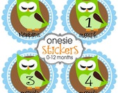 Chocolate Owl Onesie Stickers, SAME DAY SHIPPING, 13 Stickers, Newborn to 12 months