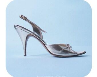 Golden vintage shoes, vintage high heeled shoes