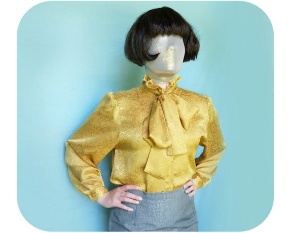 Vintage bow blouse from the 1970's, secretary style yellow blouse, yellow blouse with bow, vintage bow blouse
