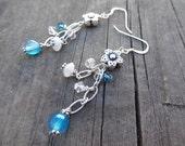 Flower, Crystal, Blue Agate, Moonstone Gemstone beads, Sterling Silver dangle Earrings