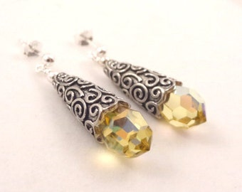 Sterling Silver Yellow  Sunshine Crystal Bead Stud dangle Earrings