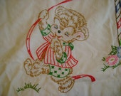 SALE 30% OFF -- 60.50 Vintage Baby Quilt Embroidered Characters Dancing around the Maypole