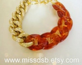 AMBER & GOLD Textured Chain Bracelet