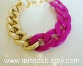 WINE & GOLD Textured Chain Bracelet