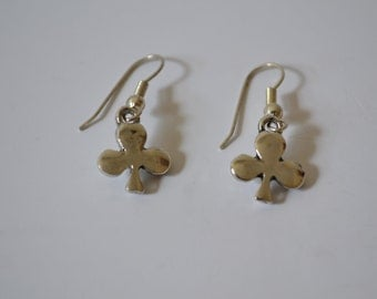 Vintage 3 Leaf Clover Silver Earrings