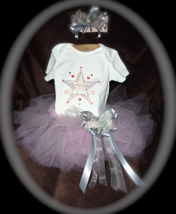Pageant Boutique 3pc Pink Dallas Cowboys tutu set size infant 3-6m
