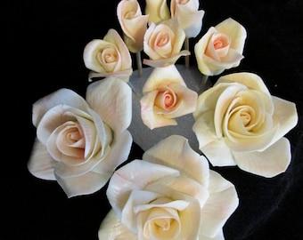 gumpaste,sugar flowers,edible,rose,tea rose,wedding,bridal,tiny tea roses,cake topper, keepsake,floral arrangement