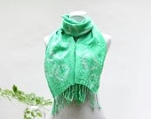Green cotton summer scarf woven fabric