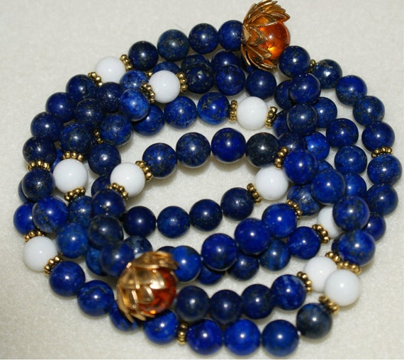 108 Bead Mala Stretch Bracelet - Lapis, White Jade, Amber