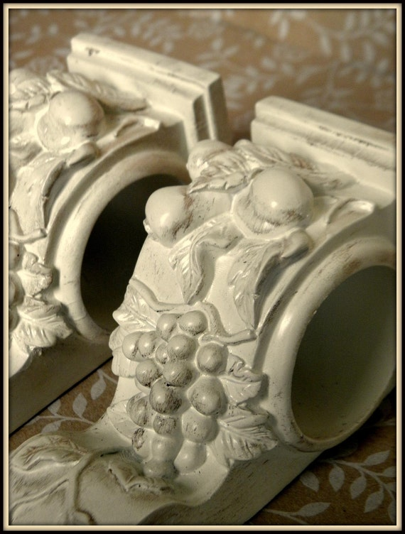 Set Of 2 Shabby French Cottage Chic Drapery Wall Sconce Shelf