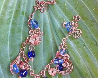 Blue Glass and Copper Swirls bracelet