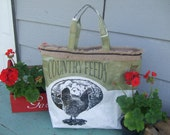 Green Upcycled Chicken Feed Sack Market Tote Lined with Burlap