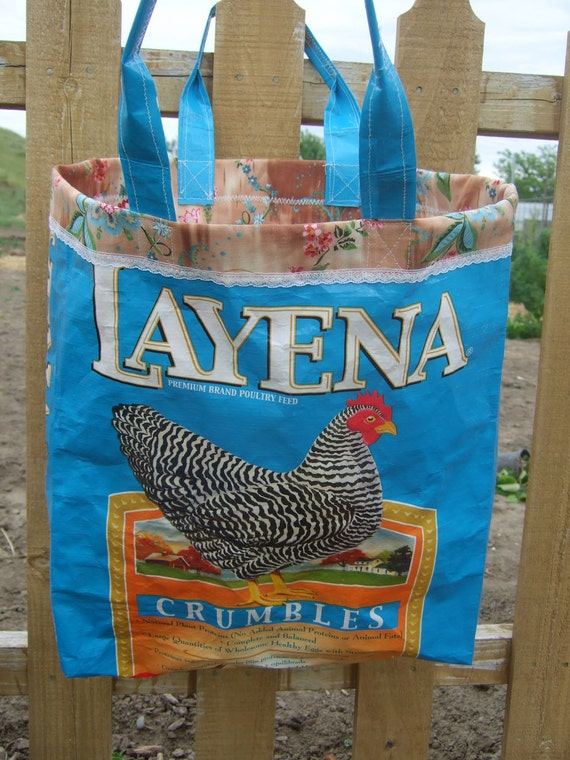 Upcycled Layena Chicken Feedsack Tote - blue-
