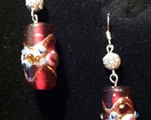 red multicolor cylinder venetian glass cake bead earrings with silver accents