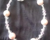 Girls pink pearl and crystal bracelet