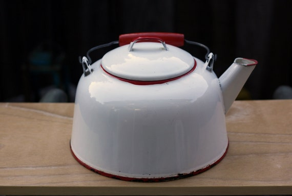 White and Red Enamelware Tea Kettle