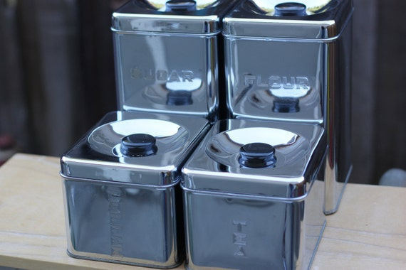 Canisters - Lincoln Beautyware, Chrome Complete Set of 4