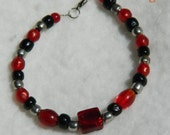 Black Red and Silver bracelet