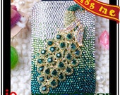 bling diamante crystal rhinestone green peacock artifical leather phone iphone 4 4s & 5 5g pouch case cover i9