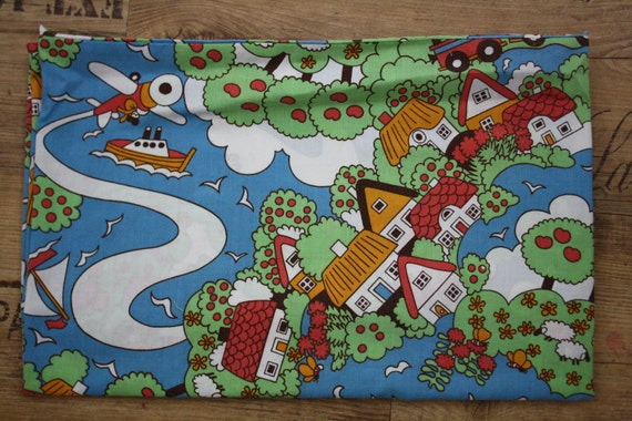 Childrens theme cotton print vintage fabric for Childrens cotton fabric