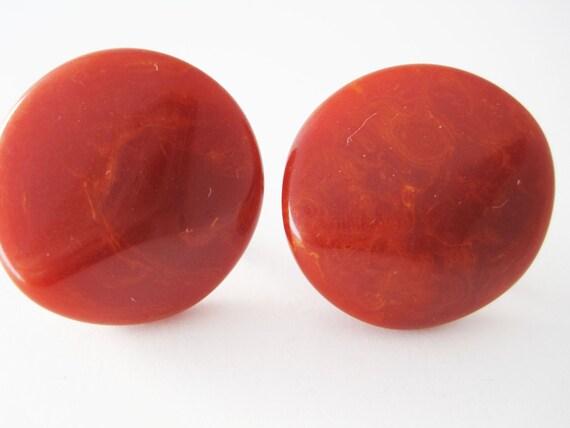 Bakelite - Red Marbled Earrings - Sculptural - Screw Posts