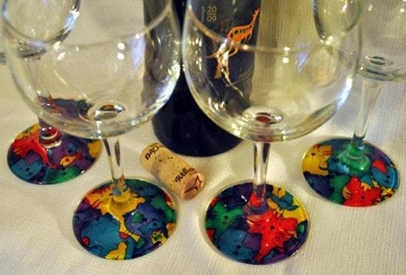 Cats III - Set of 4 Stylized Wineglasses