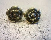 Rose Earrings--Gold
