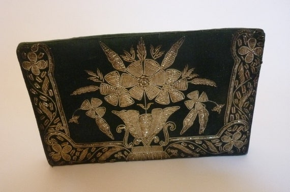 Reserved for Violette REDUCED Clutch Purse Green Velvet with Silver Embroidery 1970s