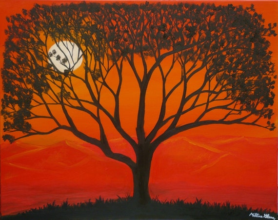 "Morning Tree  12""x15""-black tree with yellow and orange dawn sky, sun and mountains"