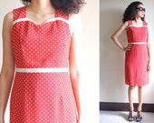 RESERVED until Friday : SALE Vintage red dress white dots lovely lady S M