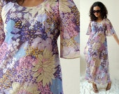 SALE : Maxi dress floral flower prints boho 60s 70s retro S M vintage gorgeous bridesmaids hippie
