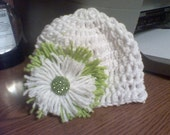 Crochet Hat with your Choice of Pom/flower Color