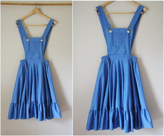RESERVED FOR ANDREA Denim Squaredancing Overalls Dress with Circle Skirt