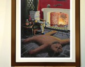 "Poster 11""x17"" - Print from my star wars painting ""Boba Fett'a living room"" with Chewbacca rug"