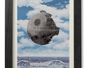 The castle on the Death Star, Magritte's masterpiece parody, Star wars inspired - digital print cm 20x30