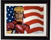 "laser print 8""x11"" of my original painting: Barack Obama as Ironman, Marvel and Avengers inspired"