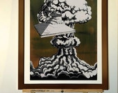 """Poster 11""""x17"""" - Print from my star wars painting """"Hiroshima mon amour"""", Star wars inspired, with Imperial destroyer as Enola Gay"""