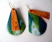 Funky large earrings with green, turquoise and orange design