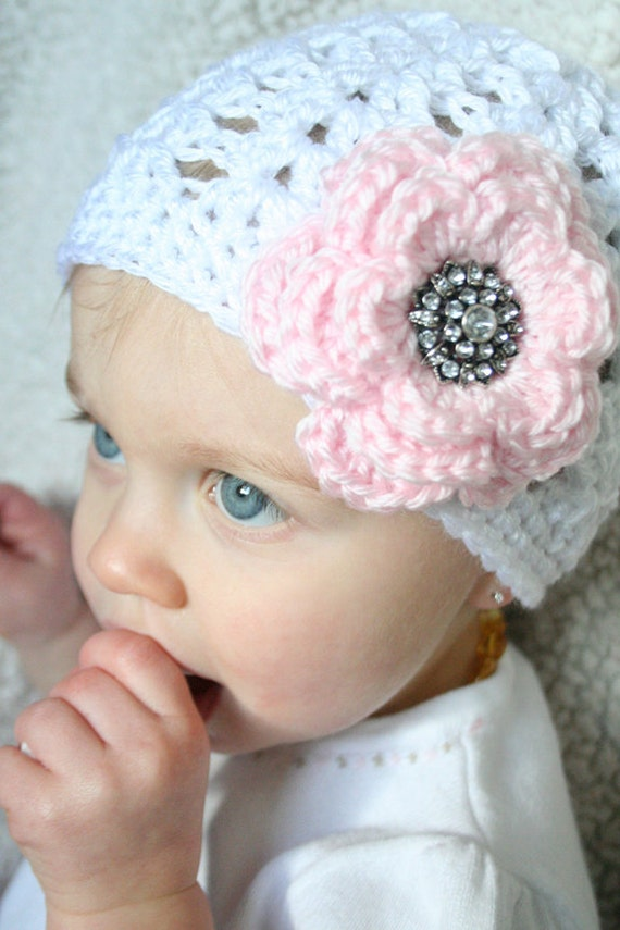 Baby Crochet Hat with Flower 6-12 months