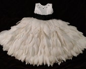 Jovani inspired, One of a kind, hand made, tiered white feathers, white with black accent flower girl/pagent dress, size 4